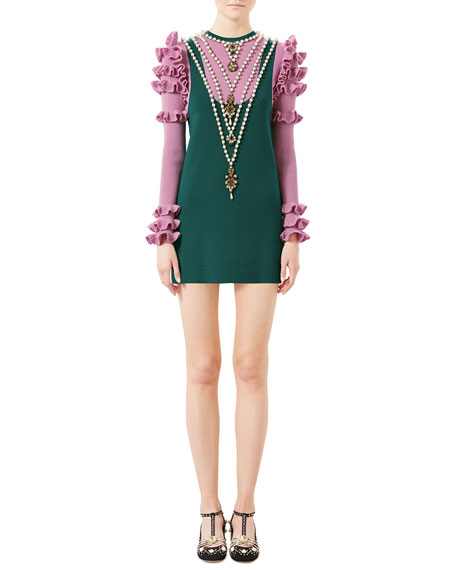 Gucci Embroidered Wool Dress, Bright Green/Rose
