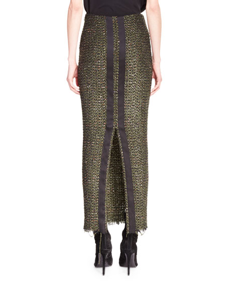 Long Sparkle Tweed Pencil Skirt, Olive