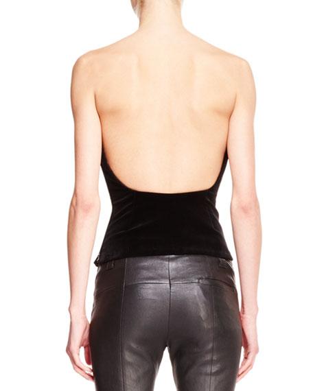 Velvet Low-Back Bustier Top, Black