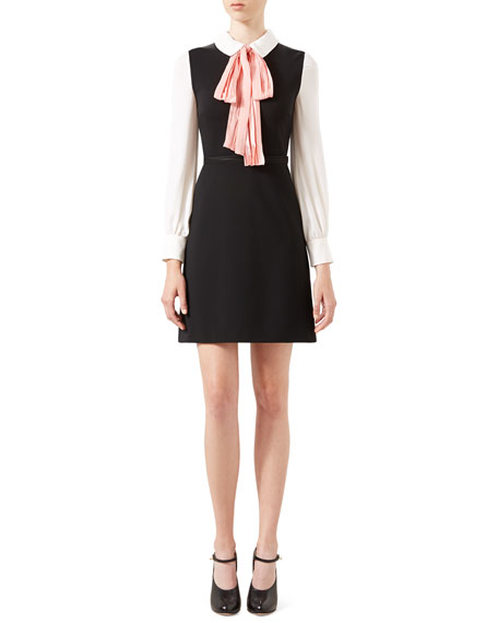 c5924fae034 Gucci A-Line Jersey Dress with Bow, Black/White/Peach