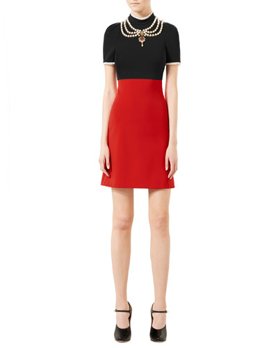 Embroidered Jersey Dress, Black/Red