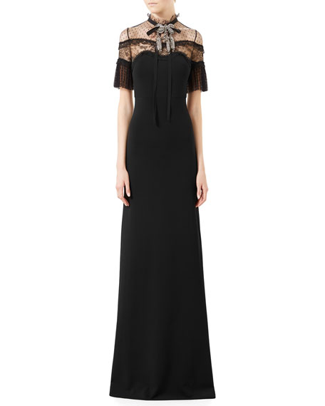 0907528fb Gucci Jersey & Dotted Lace Gown w/Crystal Bow, Black