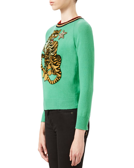 Tiger Embroidered Knit Top, Caribbean Green