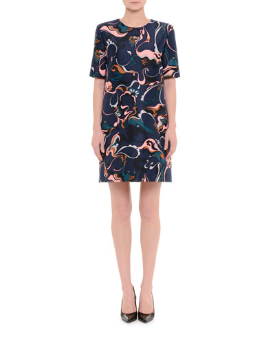 Short-Sleeve Pashke-Print Dress, Blue/Black