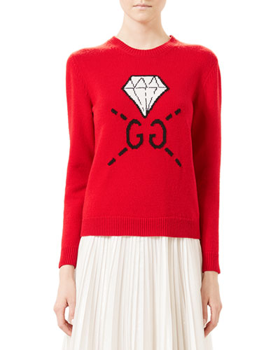 GucciGhost GG Diamond Knit Top, Hibiscus Red
