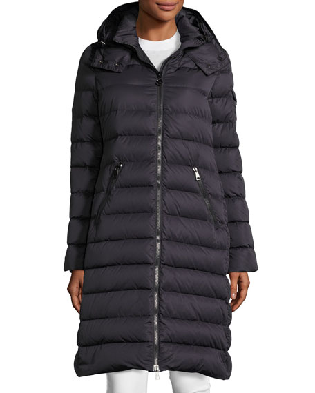 Long Quilted Coat with Hood