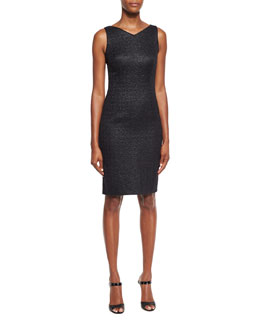Roxie Iridescent Jacquard Sheath Dress, Black
