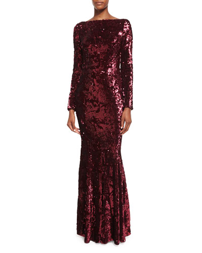 Lorena Sequined Long-Sleeve Gown, Red