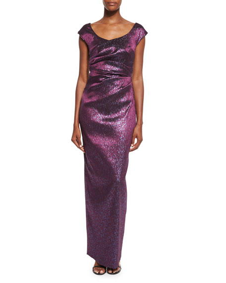 Kortney Iridescent Cap-Sleeve Gown, Purple