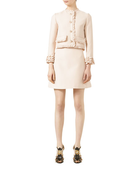 Cady Crepe Wool A-Line Skirt, Gardenia