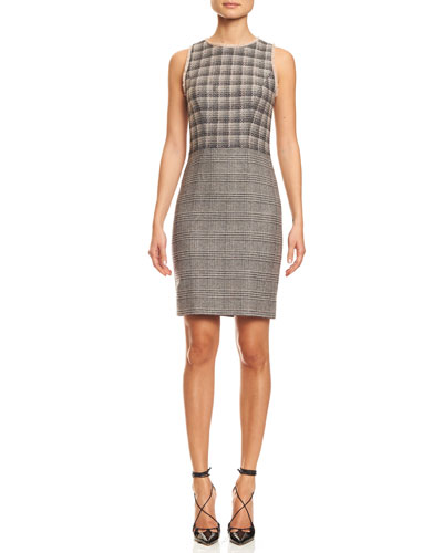 Sleeveless Combo-Plaid Sheath Dress, Black/Pink