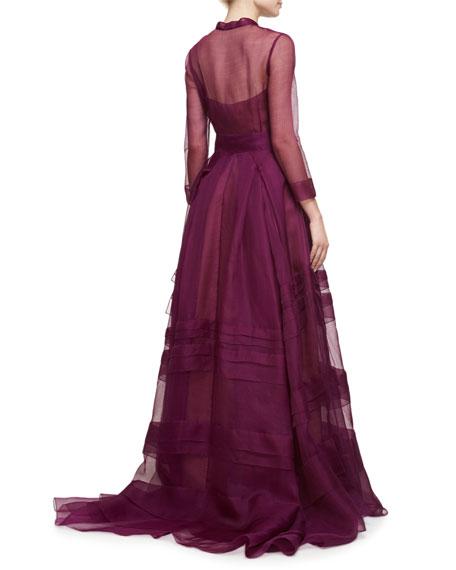 Long-Sleeve Silk Organza Trench Gown, Iris
