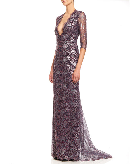 3/4-Sleeve Metallic Lace-Print Gown, Silver/Red