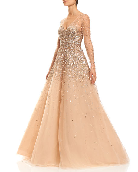 Sequined Illusion Tulle Ball Gown, Champagne