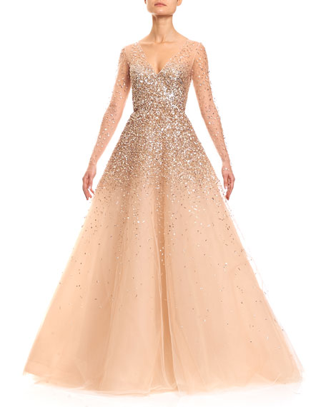 Carolina Herrera Sequined Illusion Tulle Ball Gown Champagne