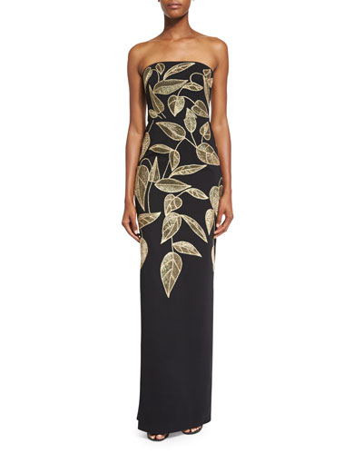 Leaf-Embroidered Strapless Column Gown, Black/Gold