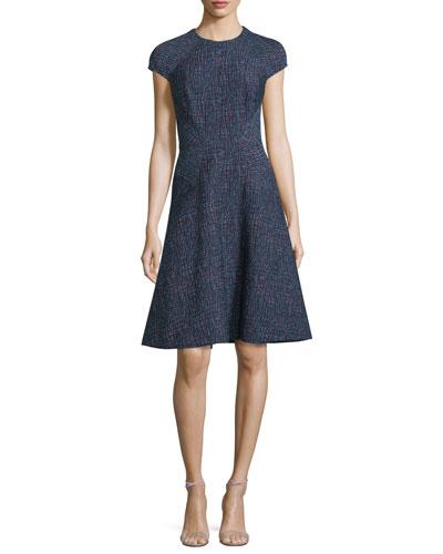 Cap-Sleeve Patterned Jacquard Day Dress, Navy/Multi