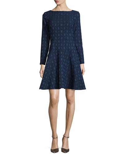 Geometric-Jacquard Long-Sleeve Dress, Navy