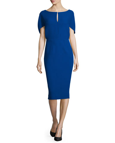 Fitted Cape-Sleeve Stretch-Wool Dress, Sapphire