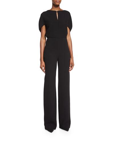 Cape-Sleeve Keyhole Jumpsuit, Black
