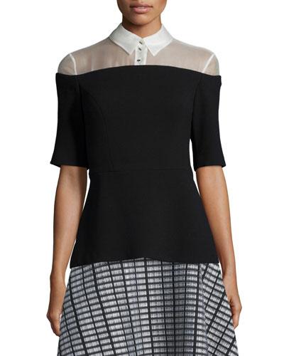 Wool Crepe & Organza Combo Top, Black/White