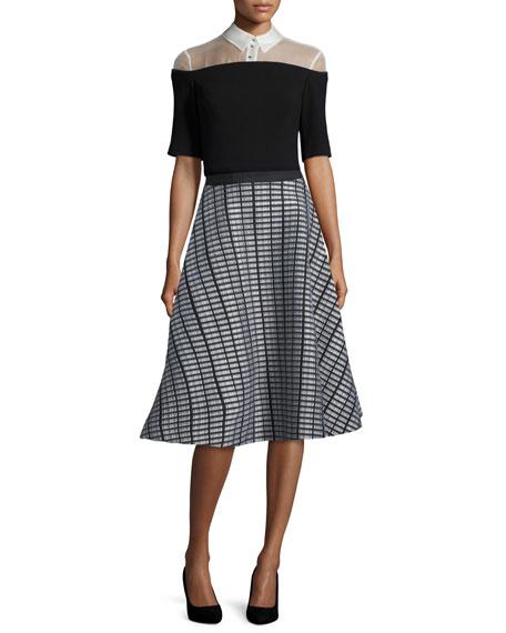 Raised-Seam Double-Mesh Skirt, Black/White