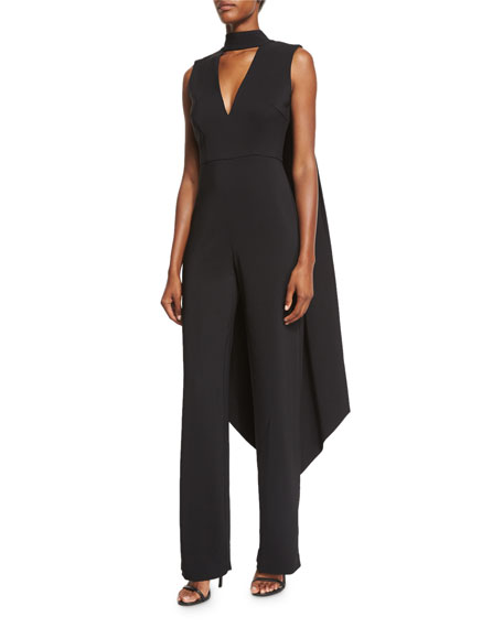 Rachel Gilbert Leandra Stretch Woven Jumpsuit Wcape Black