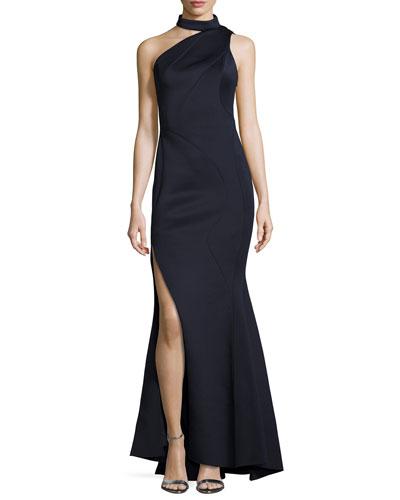 Phoebe Mock-Neck One-Shoulder Gown, Navy
