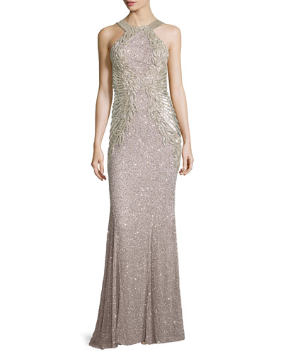 Saskia Beaded Halter Gown, Silver