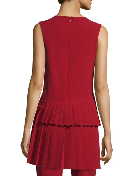 Pleated-Black Sleeveless Tunic, Claret