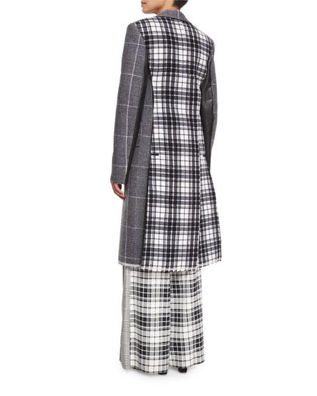 Mixed-Plaid Wool Coat w/Leather Trim, Black