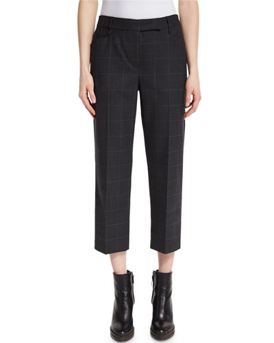 Cropped Windowpane-Print Pants, Anthracite