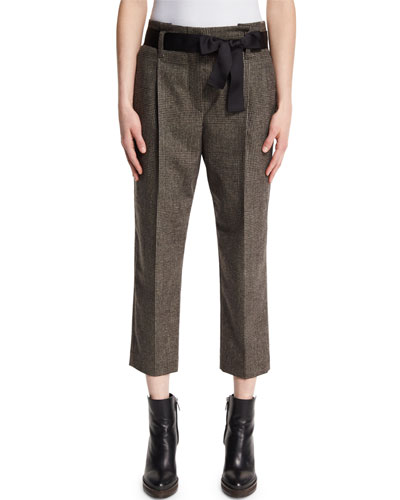 Plaid Tie-Waist Cropped Trousers, Bark