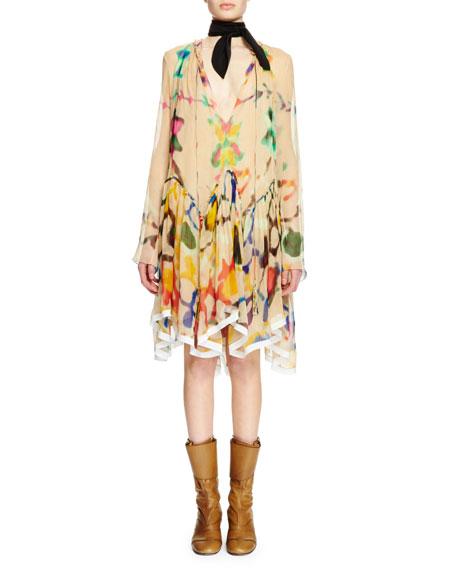 Chloe Long-Sleeve Inkblot Silk Dress, Beige/Ink