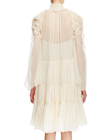 Long-Sleeve Smocked Silk Dress, Off White