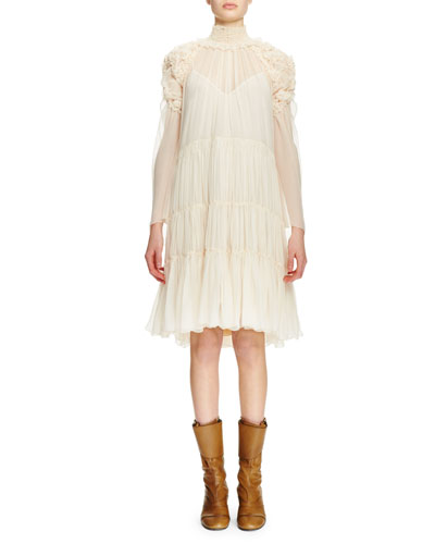 Long-Sleeve Smocked Silk Dress, Off White