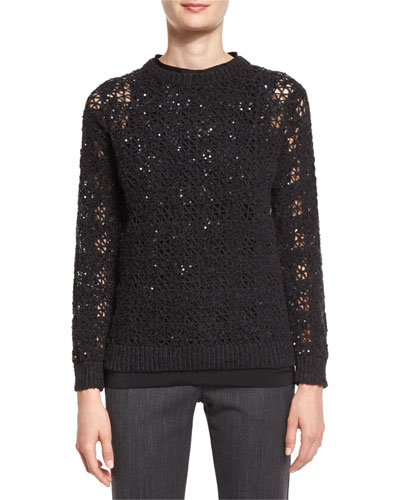 Houndstooth-Embroidered Crewneck Sweater, Onyx