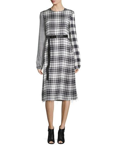 Mixed-Plaid Long-Sleeve Dress, Black/White