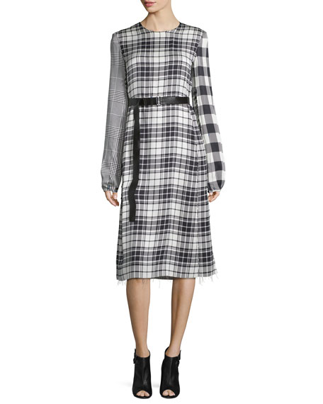Calvin Klein Mixed-Plaid Long-Sleeve Dress, Black/White