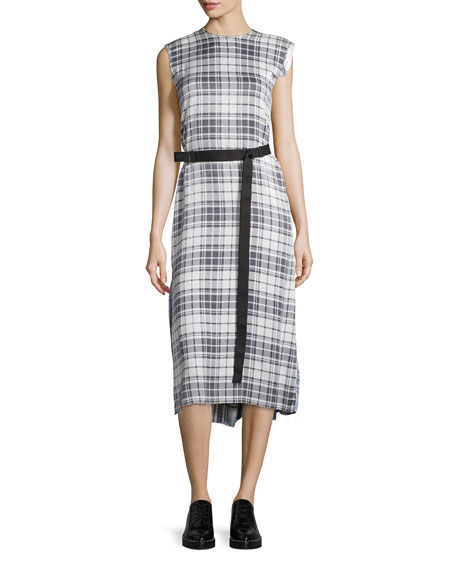 Belted Plaid Silk Midi Dress, Black/White