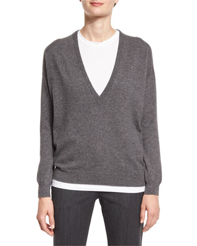 Deep V-Neck Cashmere Sweater, Charcoal
