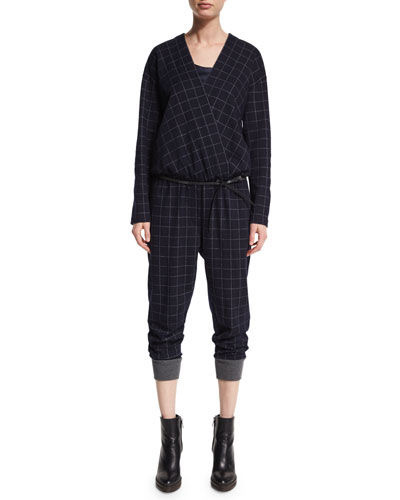 Windowpane Long-Sleeve Jumpsuit, Navy