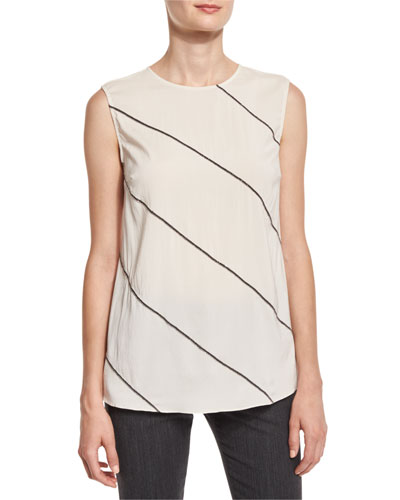Sleeveless Top w/Diagonal Monili Beading, Vanilla