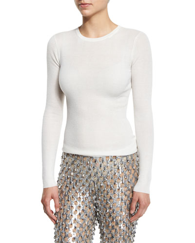 Long-Sleeve Featherweight Cashmere Top, White