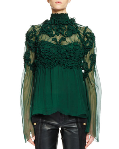 Long-Sleeve Smocked Silk Blouse, Forest Green