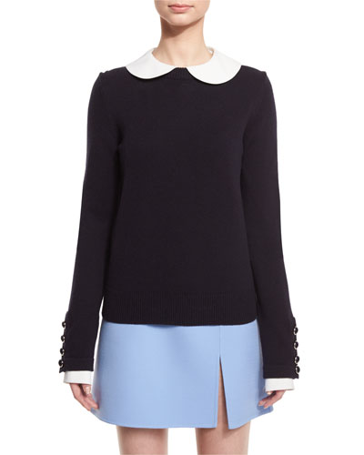Long-Sleeve Cashmere Peter Pan Sweater, Navy