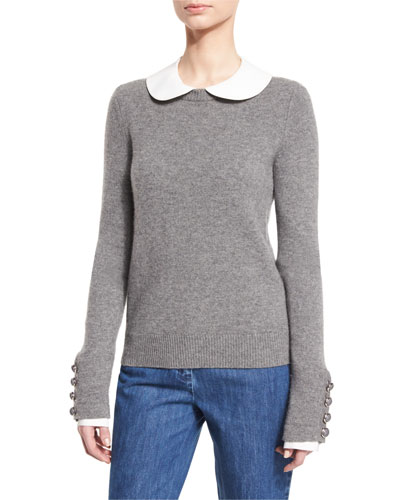 Long-Sleeve Cashmere Peter Pan Sweater,