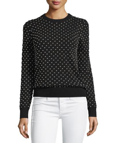 Studded Long-Sleeve Cashmere Sweater, Black