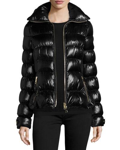 Ashdon Glossy Fitted Puffer Coat, Black