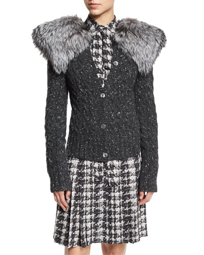 Cable-Knit Cashmere Sweater w/Fox Fur Trim, Gray